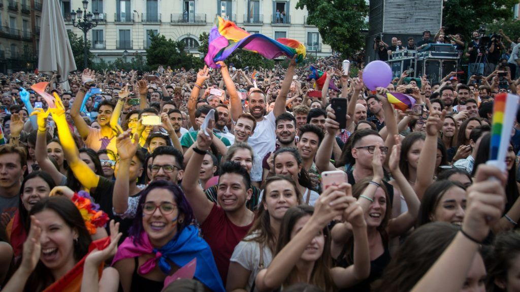 Thousands gather during the opening ceremony of the 2018 Gay Pride in Madrid, Spain on July 4, 2018. The Madrid Pride is taking place until July 8, marking 40 years since Madrid's first authorized LGBT demonstration was organized by the Homosexual Liberation Front of Castilla (FLHOC) .
