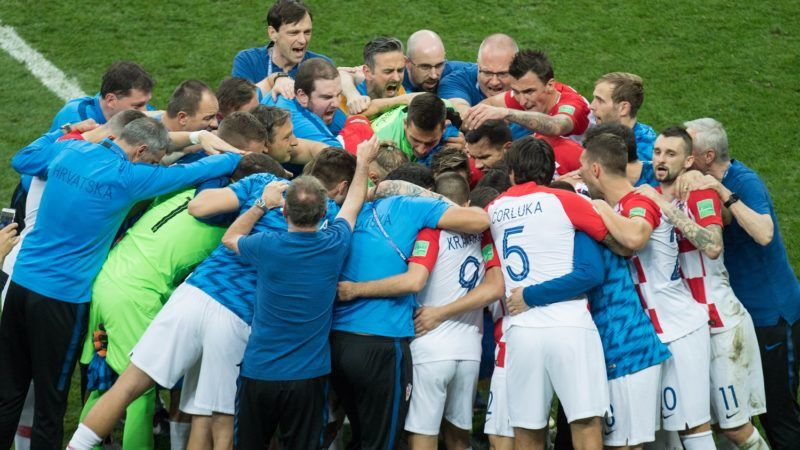The Croatian team makes a circle, frustrated, frustrated, frustratedet, disappointed, disappointed, disappointment, disappointment, sad, half figure, half figure, France (FRA) - Croatia (CRO) 4: 2, final, game 64, on 15.07.2018 in Moscow; Football World Cup 2018 in Russia from 14.06. - 15.07.2018. | Usage worldwide