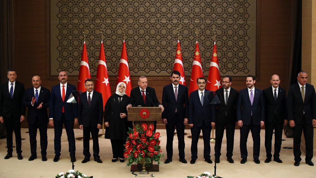 ANKARA, TURKEY - JULY 9: Turkish President Recep Tayyip Erdogan announces Turkish Cabinet after taking oath as first president under new government system, in Ankara, Turkey on July 9, 2018. President Recep Tayyip Erdogan has unveiled the new 16-minister Cabinet in the presidential complex in the capital Ankara.   Murat Kula / Anadolu Agency