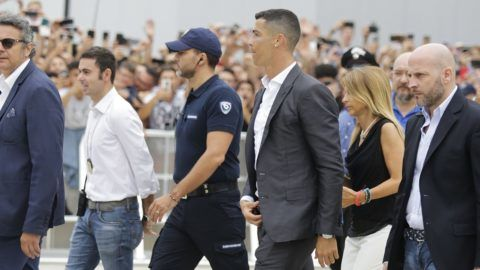 TORINO, ITALY - JULY 16: Cristiano Ronaldo greets fans outside the Juventus Medical Center in Torino, Italy on July 16, 2018.   Giulio Lapone / Anadolu Agency