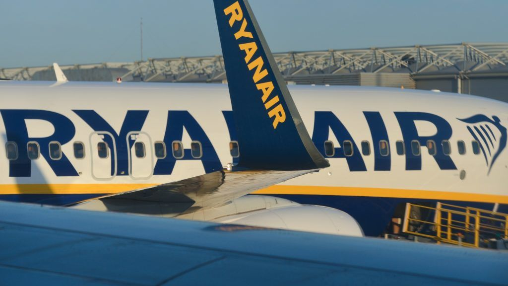 A view of Ryanair plane, an Irish low cost airline, seen at Lisbon Portela Airport. On Thursday, April 26, 2018, in Lisbon, Portugal. (Photo by Artur Widak/NurPhoto)
