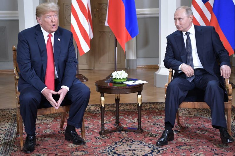 HELSINKI, FINLAND - JULY 16, 2018: US President Donald Trump (L) and Russia's President Vladimir Putin during a meeting at the Presidential Palace. Alexei Nikolsky/Russian Presidential Press and Information Office/TASS (Photo by Alexei NikolskyTASS via Getty Images)
