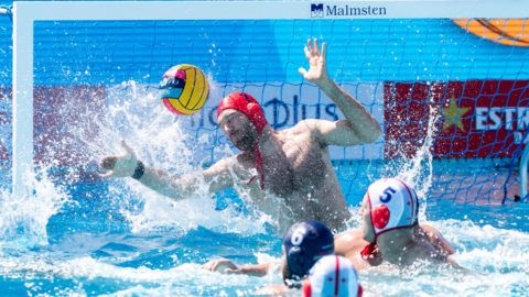 Match between Georgia v Hungary corresponding to the 33rd LEN European Waterpolo championships Barcelona 2018 on July 16, 2018 in Barcelona. (Photo by Urbanandsport/NurPhoto via Getty Images)