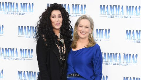 "LONDON, ENGLAND - JULY 16:  Cher and Meryl Streep attend the ""Mamma Mia! Here We Go Again"" world premiere at the Eventim Apollo, Hammersmith on July 16, 2018 in London, England.  (Photo by Stuart C. Wilson/Getty Images for Universal Pictures )"