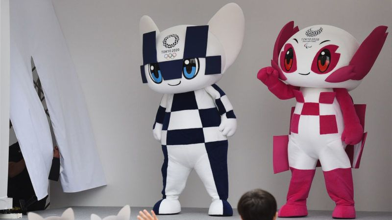 TOKYO, JAPAN - JULY 22:  Tokyo 2020 mascots, Miraitowa (L) and Someity (R) make their first appearance on July 22, 2018 in Tokyo, Japan.  (Photo by Matt Roberts/Getty Images)