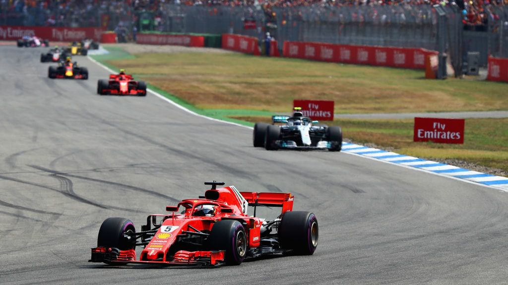 HOCKENHEIM, GERMANY - JULY 22: Sebastian Vettel of Germany driving the (5) Scuderia Ferrari SF71H on track during the Formula One Grand Prix of Germany at Hockenheimring on July 22, 2018 in Hockenheim, Germany.  (Photo by Mark Thompson/Getty Images)