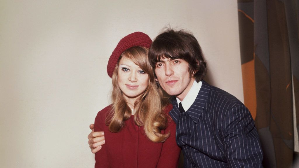 22nd January 1966:  George Harrison (1943 - 2001), singer, songwriter and guitarist with The Beatles pictured with his wife, model Patti Boyd.  (Photo by Fox Photos/Getty Images)