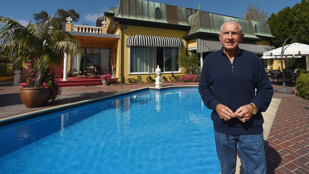 LOS ANGELES, CA - FEBRUARY 06:  Frederic Prinz von Anhalt poses in front of Zsa Zsa's Bel Air mansion during the press conference for Zsa Zsa Gabor's 98th Birthday on February 6, 2015 in Los Angeles, California.  (Photo by Axelle/Bauer-Griffin/FilmMagic)