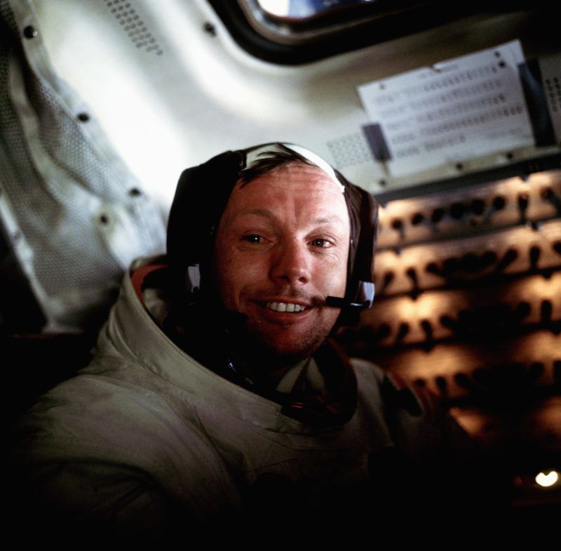 A portrait of Neil Armstrong aboard the Lunar Module Eagle on the lunar surface just after the first moon walk. (Photo by © Corbis/Corbis via Getty Images)