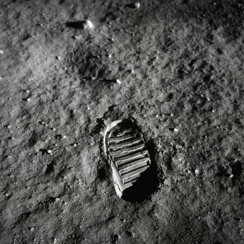 """Astronaut Neil Armstrong took """"one small step for man, one giant leap for mankind"""" when he stepped out of the Apollo 11 and onto the moon, July 20, 1969. For the United States, the moment was a triumphant finish to a race that began in 1961 when the Soviet Union put the first manned spacecraft into orbit. (Photo by © Corbis/Corbis via Getty Images)"""
