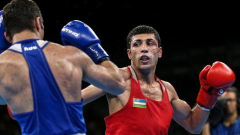 RIO DE JANEIRO, BRAZIL - AUGUST 21, 2016: Russia's Mikhail Aloyan (L) fights against Uzbekistan's Shakhobidin Zoirov in their men's fly 52kg boxing gold medal bout at the Rio 2016 Summer Olympic Games, at Riocentro Pavilion 6. Zoirov won the bout. Valery Sharifulin/TASS (Photo by Valery SharifulinTASS via Getty Images)