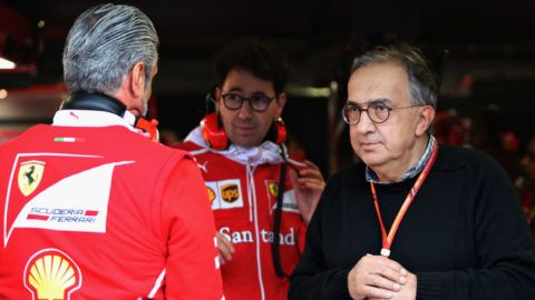 MONZA, ITALY - SEPTEMBER 02:  Sergio Marchionne, CEO of FIAT and Chairman of Ferrari looks on from the garage during qualifying for the Formula One Grand Prix of Italy at Autodromo di Monza on September 2, 2017 in Monza, Italy.  (Photo by Mark Thompson/Getty Images)