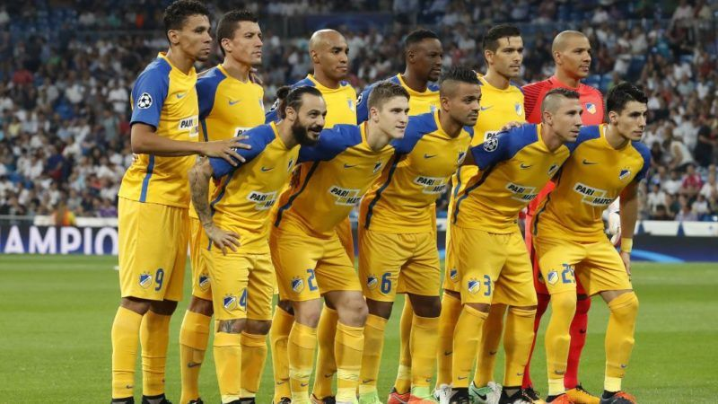 (Top Row L-R) Igor De Camargo of APOEL FC, Jesus Rueda of APOEL FC, Carlao of APOEL FC, Vinicius of APOEL FC, Nuno Morais of APOEL FC, goalkeeper Boy Waterman of APOEL FC   (Front row L-R) Stathis Aloneftis of APOEL FC, Roland Sallai of APOEL FC, Lorenzo Ebecilio of APOEL FC, Roberto Lago of APOEL FC, Praxitelis Vouros of APOEL FC during the UEFA Champions League group H match between Real Madrid and APOEL FC on September 13, 2017 at the Santiago Bernabeu stadium in Madrid, Spain.(Photo by VI Images via Getty Images)