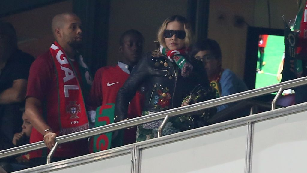 US singer Madonna attends the 2018 FIFA World Cup qualifying football match between Portugal and Switzerland at the Luz stadium in Lisbon, Portugal on October 10, 2017. Photo: Pedro Fiuza  ( Photo by Pedro Fiúza/NurPhoto via Getty Images)