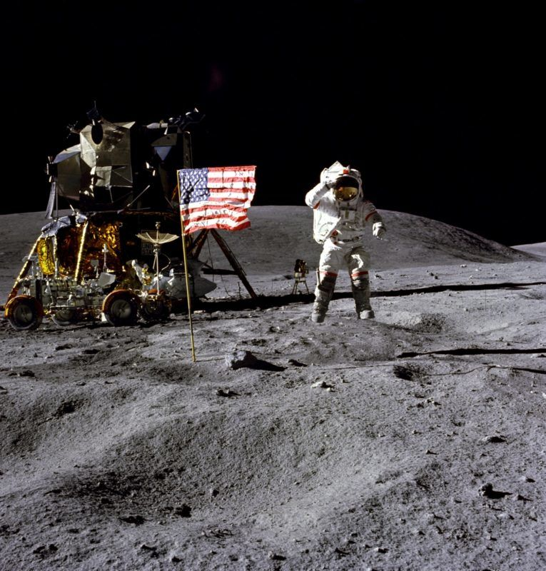"UNSPECIFIED  :  Astronaut Buzz Aldrin, lunar module pilot, walks on the surface of the Moon near the leg of the Lunar Module (LM) ""Eagle"" during the Apollo 11 exravehicular activity (EVA). Astronaut Neil A. Armstrong, commander, took this photograph with a 70mm lunar s  (Photo by Apic/Getty Images)"
