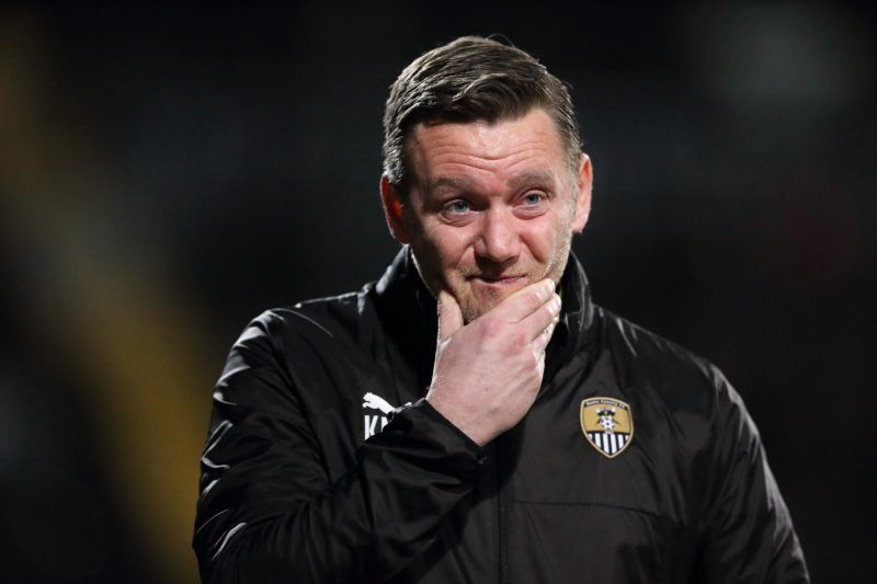 NOTTINGHAM, ENGLAND - JANUARY 23: Notts County manager Kevin Nolan during the Sky Bet League Two match between Notts County and Crawley Town at Meadow Lane on January 23, 2018 in Nottingham, England. (Photo by James Williamson - AMA/Getty Images)