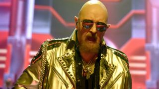 """SAN FRANCISCO, CA - APRIL 19:  Rob Halford of Judas Priest performs in support of the band's """"Firepower"""" release at The Warfield on April 19, 2018 in San Francisco, California.  (Photo by Tim Mosenfelder/Getty Images)"""