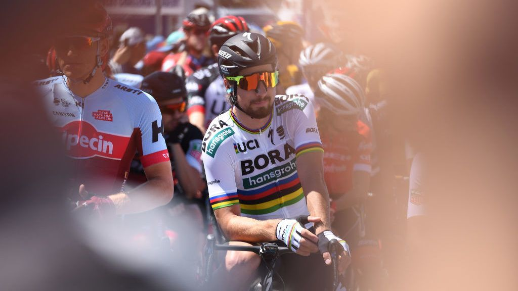 ELK GROVE, CA - MAY 17: Peter Sagan of Slovakia and Team Bora-Hansgrohe before stage five of the 13th Amgen Tour of California, a 176km stage from Stockton to Elk Grove on May 17, 2018 in Elk Grove, California.  (Photo by Matteo Marchi/Getty Images)