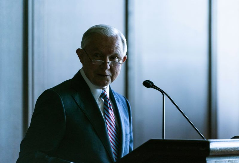 SCRANTON, PA - JUNE 15: U.S. Attorney General Jeff Sessions delivers remarks on immigration and law enforcement actions on at Lackawanna College June 15, 2018 in Scranton, Pennsylvania. The audience was an invited a group of federal, state and local law enforcement as well as local police academy cadets. (Photo by Jessica Kourkounis/Getty Images)