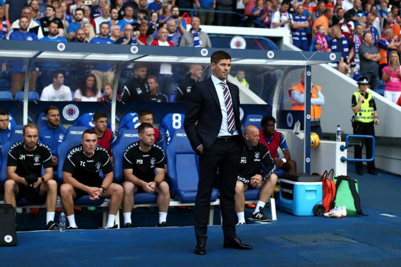 GLASGOW, SCOTLAND - JULY 12: Steven Gerrard manager of Rangers looks on during the UEFA Europa League Qualifying Round match between Rangers and Shkupi at Ibrox Stadium on July 12, 2018 in Glasgow, Scotland. (Photo by Jan Kruger/Getty Images)