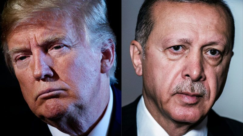 """(COMBO) This combination of file pictures created on August 10, 2018 shows (L) US President Donald Trump chairing a meeting with administration and state officials on prison reform at the Trump National Golf Club August 9, 2018 in Bedminster, New Jersey.(R) Turkey's President Recep Tayyip Erdogan arriving to attend a session meeting during the 10th BRICS summit (acronym for the grouping of the world's leading emerging economies, namely Brazil, Russia, India, China and South Africa) on July 27, 2018 in Johannesburg, South Africa.US President Donald Trump said on August 10, 2018 he had doubled steel and aluminum tariffs on Turkey, adding to pressure on that nation's troubled economy amid a diplomatic row with Washington.""""I have just authorized a doubling of Tariffs on Steel and Aluminum with respect to Turkey as their currency, the Turkish Lira, slides rapidly downward against our very strong Dollar!"""" Trump said on Twitter.""""Our relations with Turkey are not good at this time!""""  / AFP PHOTO / AFP PHOTO AND POOL / Brendan Smialowski AND Gianluigi GUERCIA"""