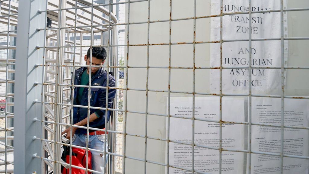 A migrant enters the Hungarian transit zone nearby the motorway border crossing of Röszke between Hungary and Serbia on April 26, 2016.