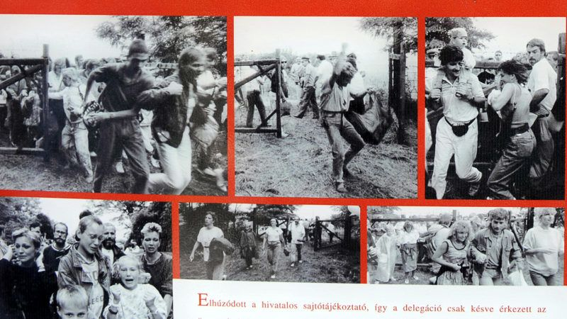 TO GO WITH AFP STORY BY ESZTER BALAZS 'EEUROPE-HUNGARY-20YEARS-HISTORY' --- A print showing photos from the Pan-European Picnic in 1989 is pictured as part of a permanent open-air exhibition at the Austrian-Hungarian border near Fertorakos, some 220kms west of Budapest on April 29, 2009 where Eastern Germans broke across the border from the Hungarian side on August 19, 1989. Virtually on the border with Austria, the village of Fertorakos used to be one of the most guarded settlements in Hungary, keeping the citizens of the communist block behind the Iron Curtain -- the almost impenetrable border between the Eastern communist regimes and the Western European countries.  AFP PHOTO / ATTILA KISBENEDEK / AFP PHOTO / ATTILA KISBENEDEK