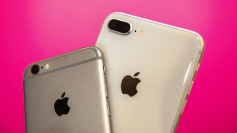 An iPhone 6s and an iPhone 8 plus are seen in this photo illustration on July 9, 2018. (Photo by Jaap Arriens/NurPhoto)