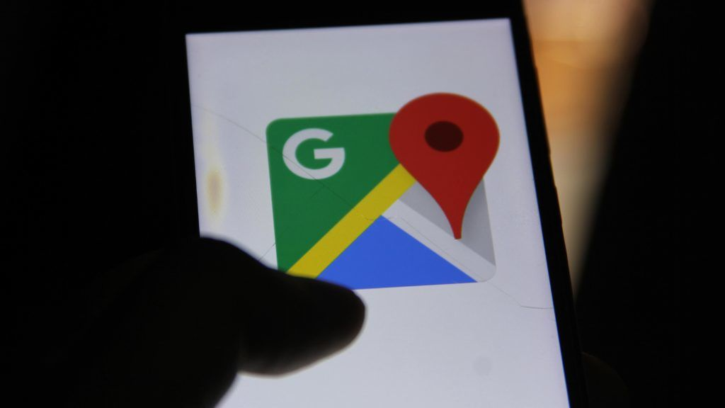 Google Maps, Mobile App can be seen on a mobile phone.  (Photo by Nasir Kachroo/NurPhoto)