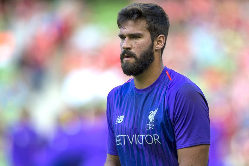 Alisson Becker of Liverpool during the International Club Friendly match between Liverpool FC and SSC Napoli at Aviva Stadium in Dublin, Ireland on August 4, 2018  (Photo by Andrew Surma/NurPhoto)