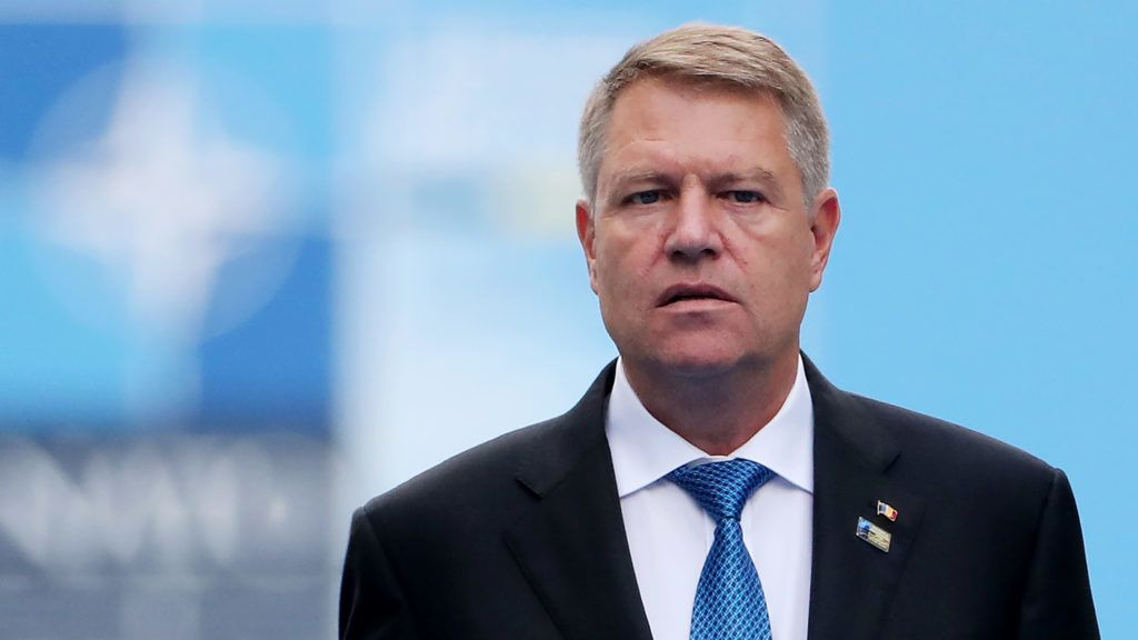 Romania's President Klaus Werner Iohannis arrives for the second day of the NATO (North Atlantic Treaty Organization) summit, in Brussels, on July 12, 2018.  / AFP PHOTO / POOL / Tatyana ZENKOVICH