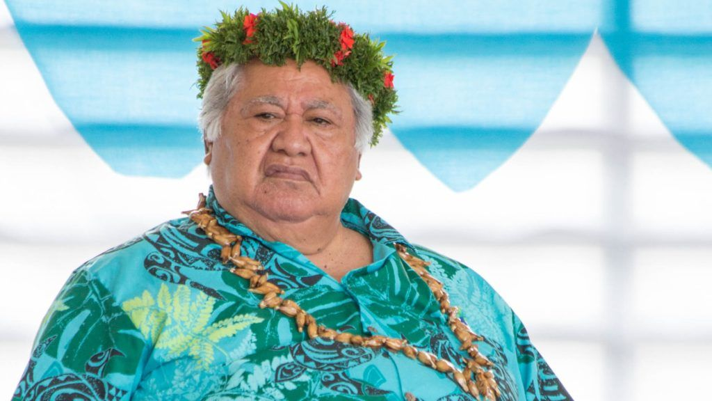 Samoa's Prime Minister Tuilaepa Aiono Sailele Malielegaoi listens to speeches at the 16-nation Pacific Islands Forum (PIF) opening in the Micronesian capital Palikir on September 8, 2016. Pacific island leaders opened their annual regional summit on September 8 with a colourful ceremony in Micronesia, as some of the world's smallest nations vowed to put up a big fight against climate change.  / AFP PHOTO / Bill JAYNES