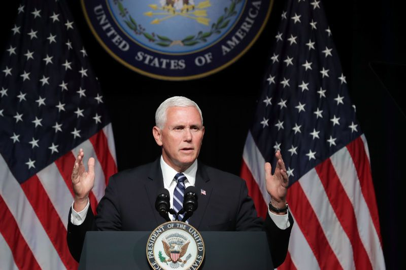 ARLINGTON, VA - AUGUST 09: U.S. Vice President Mike Pence announces the Trump Administration's plan to create the U.S. Space Force by 2020 during a speech at the Pentagon August 9, 2018 in Arlington, Virginia. Describing space as advasarial and crowded and citing threats from China and Russia, Pence said the new Space Force would be a separate, sixth branch of the military.   Chip Somodevilla/Getty Images/AFP