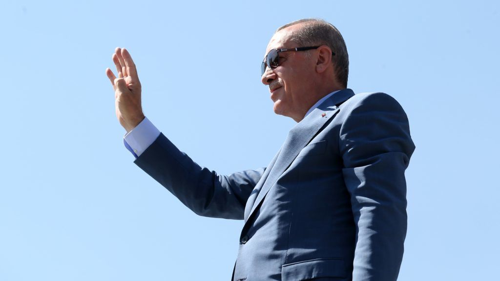 BITLIS, TURKEY - AUGUST 26: President of Turkey Recep Tayyip Erdogan greets the crowd within events marking the 947th anniversary of Victory of Malazgirt (1071 Manzikert War) in Ahlat district of Bitlis, Turkey on August 26, 2018.