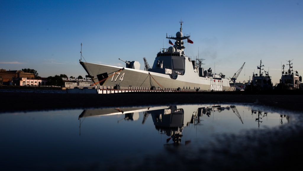 """Destroyer """"Hefei"""" and the frigate """"Unicen"""" arrives at St Petersburg to take part in a ship parade marking Russian Navy Day in Russia, on July 27, 2017. (Photo by Valya Egorshin/NurPhoto)"""