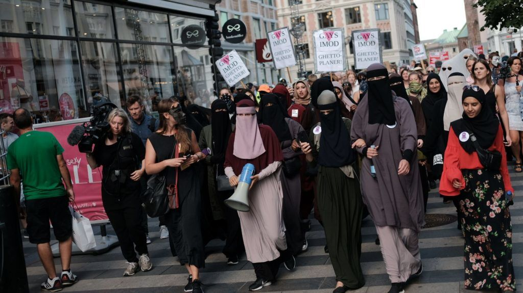Thousands of people protest in Aarhus, Denmark, on August 1, 2018 in defiance of the Danish Governments ban on the burka and niqab. The nationwide protests were organised by the Socialist Youth Front and two organisations named Women in Dialogue and Party Rebels.  (Photo by Aleksander Klug/NurPhoto)