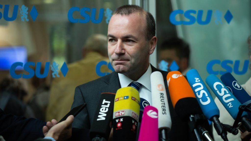 The head of the conservative faction in the EU parliament Manfred Weber makes a statement. The Christian Social Union (CSU) held a board meeting in Munich, Germany, on 18 June 2018, where they discussed about the argue with German Chancellor Angela Merkel and her Christian Democratic Union about the refugee crisis and migration. (Photo by Alexander Pohl/NurPhoto)