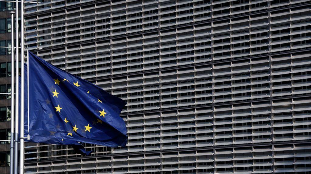 European flags fly at half-mast at EU Commission headquarters in solidarity with the victims of the forest fires in Greece, respecting the national mourning declared by the authorities in Brussels, Belgium on Jul. 25, 2018