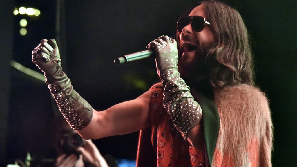 """MOUNTAIN VIEW, CA - JULY 18:  Jared Leto of Thirty Seconds to Mars performs in support of the band's """"America"""" release at Shoreline Amphitheatre on July 18, 2018 in Mountain View, California.  (Photo by Tim Mosenfelder/Getty Images)"""