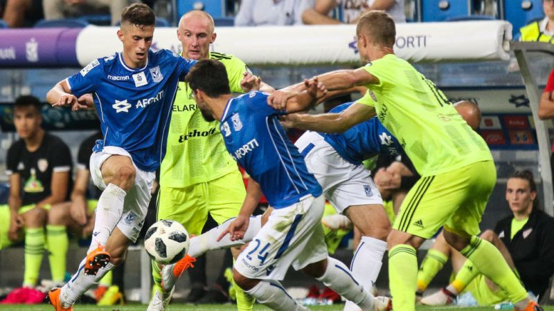 Volodymyr Kostevych (Lech), during UEFA Europa League Second Qualifying Round: 2st leg match between Lech Poznan and Shakhtior Soligorsk at Stadion Miejski in Poznan, Poland, on 2 August 2018. (Photo by Foto Olimpik/NurPhoto via Getty Images)