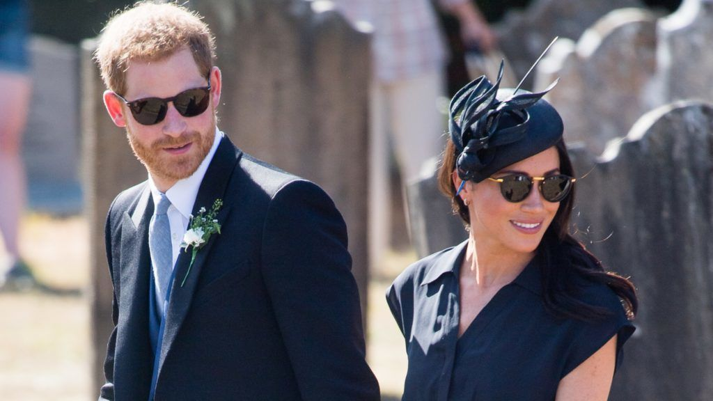 FRENSHAM, UNITED KINGDOM - AUGUST 04:  Prince Harry, Duke of Sussex and Meghan, Duchess of Sussex attend the wedding of Charlie Van Straubenzee on August 4, 2018 in Frensham, United Kingdom. Prince Harry attended the same prep school as Charlie van Straubenzee and have been good friends ever since.  (Photo by Samir Hussein/Samir Hussein/WireImage)