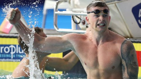 during the sychronised swimming on Day three of the European Championships Glasgow 2018 at Scotstoun Sports Campus on August 4, 2018 in Glasgow, Scotland.