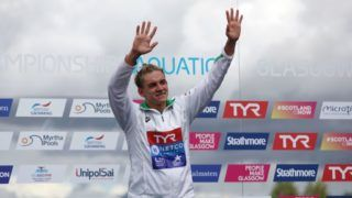 during the open water swimming on Day seven of the European Championships Glasgow 2018 at Loch Lomond on August 8, 2018 in Glasgow, Scotland. This event forms part of the first multi-sport European Championship
