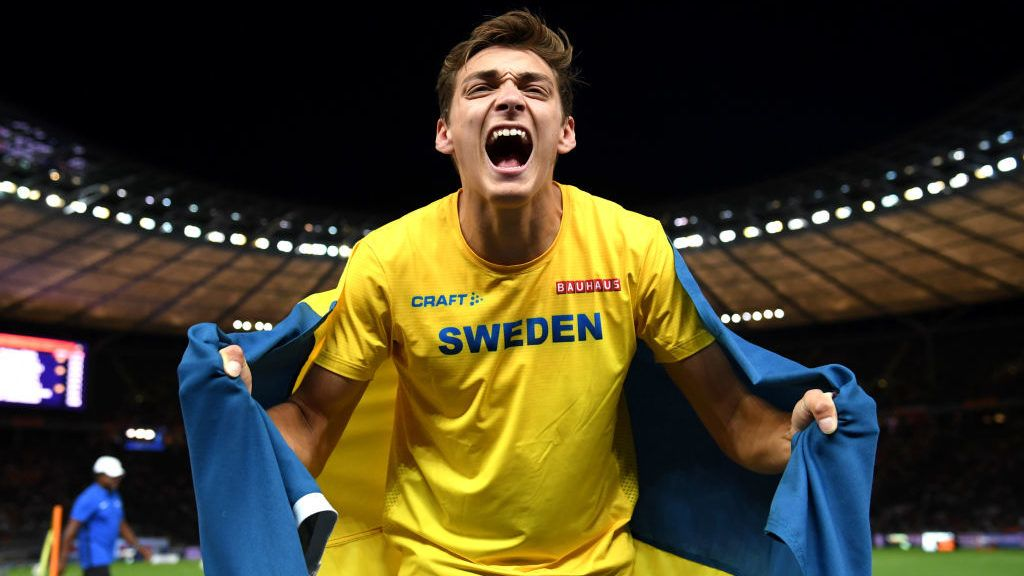 BERLIN, GERMANY - AUGUST 12:  Armand Duplantis of Sweden celebrates after winning gold in the Men's Pole Vault final during day six of the 24th European Athletics Championships at Olympiastadion on August 12, 2018 in Berlin, Germany. This event forms part of the first multi-sport European Championships.  (Photo by Matthias Hangst/Getty Images)