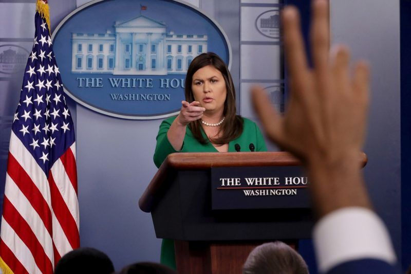 WASHINGTON, DC - AUGUST 15:  White House Press Secretary Sarah Huckabee Sanders calls on reporters during a news conference in the Brady Press Briefing Room at the White House August 15, 2018 in Washington, DC. Sanders continued to field questions from reporters about fired White House official Omarosa Manigault Newman's new book and her accusations against President Donald Trump.  (Photo by Chip Somodevilla/Getty Images)