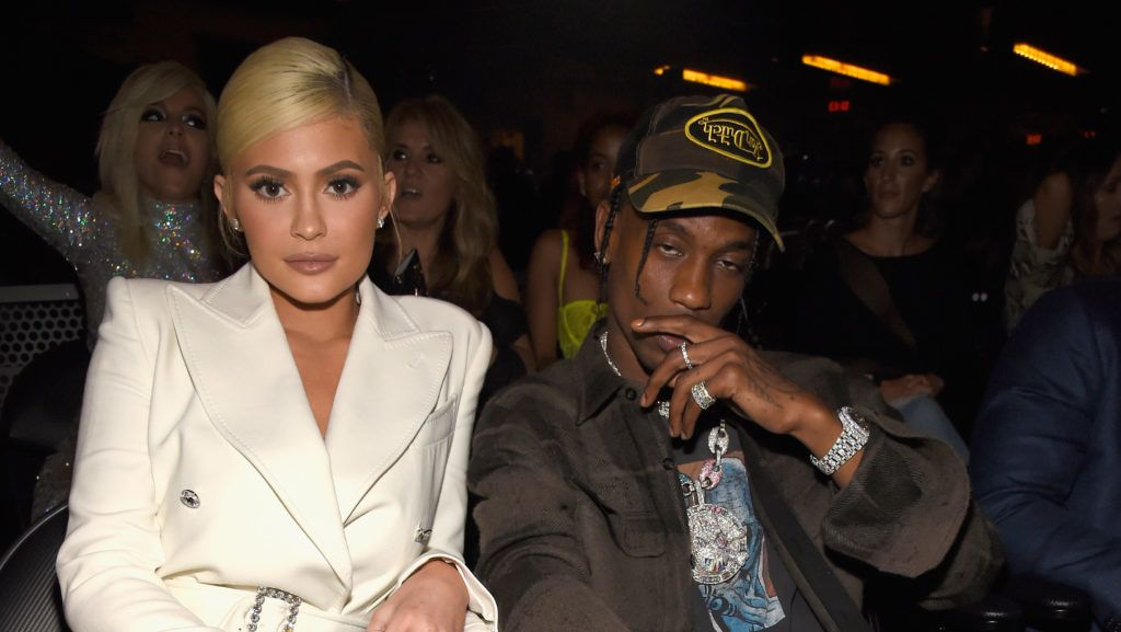 NEW YORK, NY - AUGUST 20:  Kylie Jenner and Travis Scott inside the 2018 MTV Video Music Awards at Radio City Music Hall on August 20, 2018 in New York City.  (Photo by Kevin Mazur/WireImage)