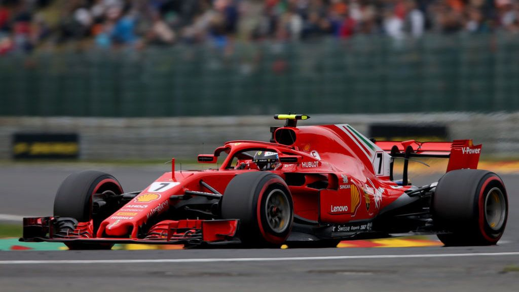 SPA, BELGIUM - AUGUST 24: Kimi Raikkonen of Finland driving the (7) Scuderia Ferrari SF71H on track during practice for the Formula One Grand Prix of Belgium at Circuit de Spa-Francorchamps on August 24, 2018 in Spa, Belgium.  (Photo by Charles Coates/Getty Images)