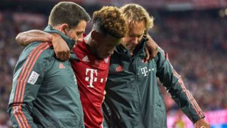 MUNICH, GERMANY - AUGUST 24: Kingsley Coman of Bayern Muenchen injured during the Bundesliga match between FC Bayern Muenchen and TSG 1899 Hoffenheim at Allianz Arena on August 24, 2018 in Munich, Germany. (Photo by TF-Images/Getty Images)