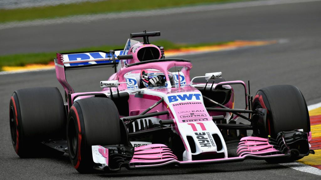 SPA, BELGIUM - AUGUST 26: Sergio Perez of Mexico driving the (11) Sahara Force India F1 Team VJM11 Mercedes on track during the Formula One Grand Prix of Belgium at Circuit de Spa-Francorchamps on August 26, 2018 in Spa, Belgium.  (Photo by Dan Mullan/Getty Images)