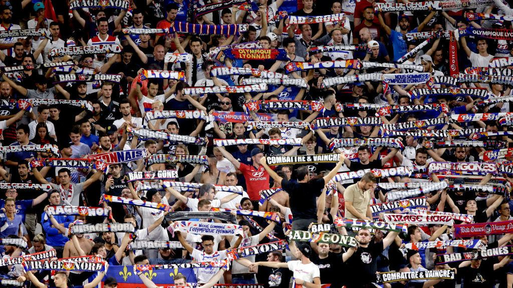 LYON, FRANCE - AUGUST 24: supporters of Olympique Lyon  during the French League 1  match between Olympique Lyon v Strasbourg at the Parc Olympique Lyonnais on August 24, 2018 in Lyon France (Photo by Jeroen Meuwsen/Soccrates/Getty Images)